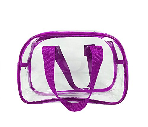 Clear Purse that is Event Stadium Approved / Clear Handbags for Cosmetics, Makeup, and Travel / Clear Bag Made of Transparent Plastic (Purple)