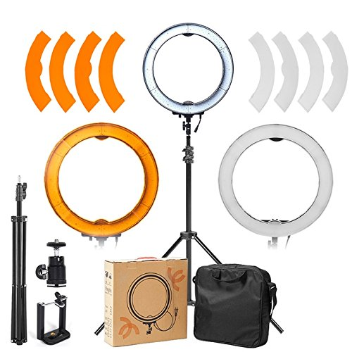 ASHANKS Ring Light Kit SMD Outer 55W 5500K LED Dimmable Camera Photo Ring Video Lights+Plastic Color Filter Set+Light Stand for Smartphone, Youtube, Vine Self-Portrait Video Shooting