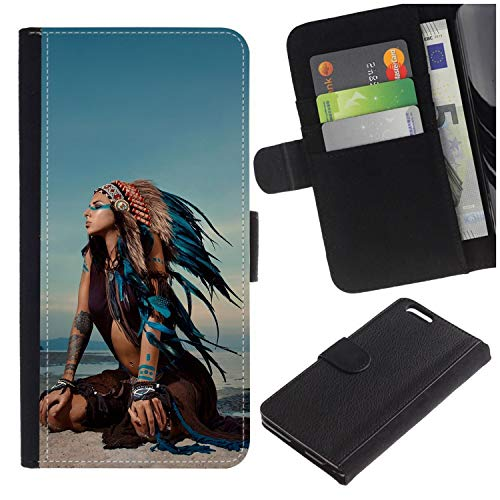 Colorful Pattern Flip Wallet Leather Holster Protective Skin Case for Samsung Galaxy J3 Emerge J327/J3 Eclipse /J3 Prime/Express Prime 2 (Native American Indian Girl in National Headdress) ()