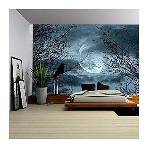 wall26 - Halloween Background with Spooky Forest and Full Moon - Removable Wall Mural | Self-adhesive Large Wallpaper - 100x144 inches for $<!--$99.99-->