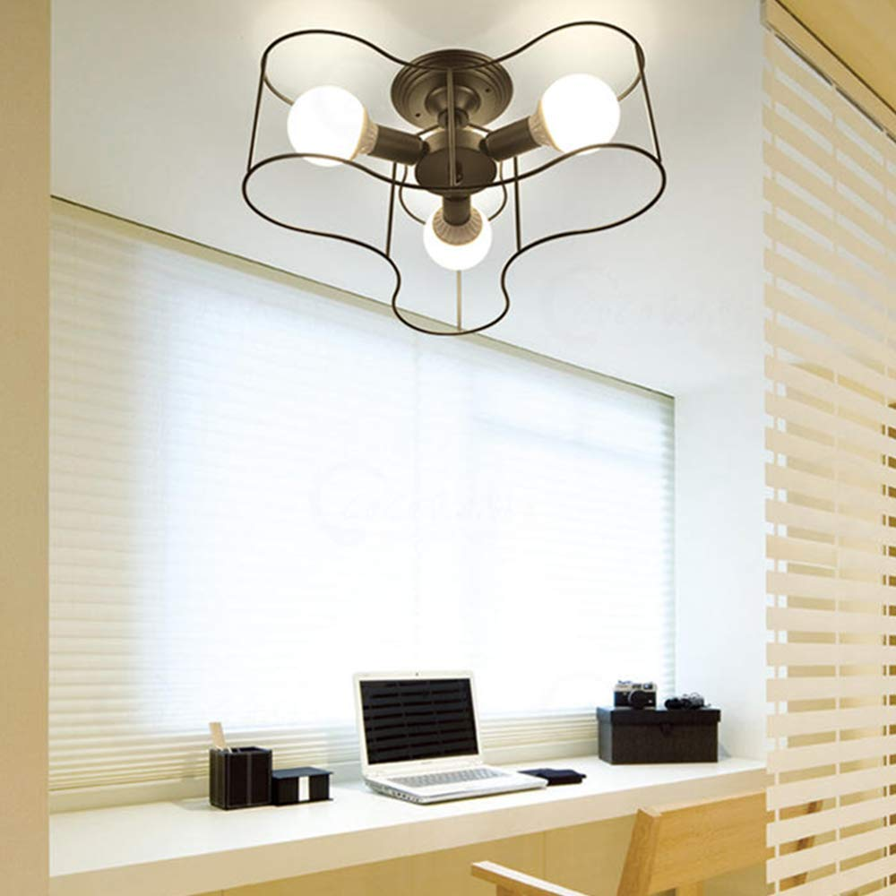 Ladiqi 3 Lights Semi Flush Mount Ceiling Light Pendant Chandelier Lighting Fixture with Metal Cage Black for Living Room Bedroom