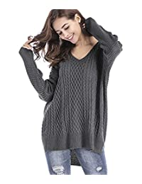 Stjubileens Womens Loose V Neck Knit Sweater Long Sleeve Casual Pullover Top