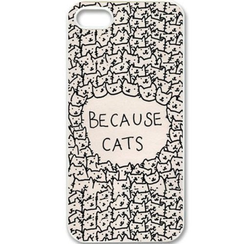 Because Cats Animal Cat Cartoon Phone Case [Customizable by Buyers] [Create Your Own Phone Case] Slim Fitted Hard Protector Cover for iPhone 5 / 5S