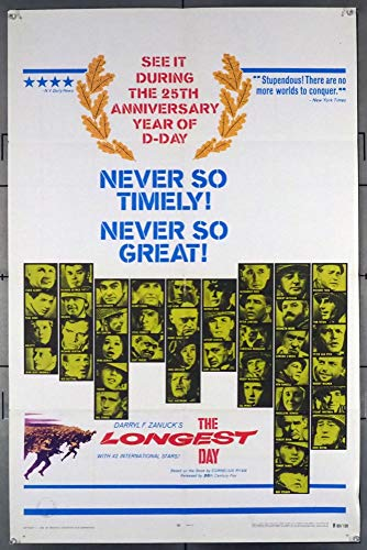 The Longest Day (1962) Original U.S. One-Sheet Movie Poster 27x41 Re-release of 1969 Folded Fine Condition NORMANDY INVASION EPIC