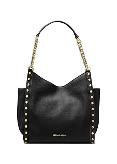 9b1283952c73 MICHAEL Michael Kors Newbury Studded Leather Chain Tote in Black   Amazon.co.uk  Shoes   Bags