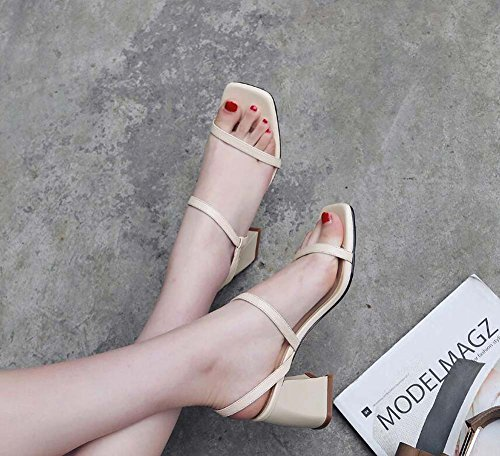 Mujer De Beige Grueso Estilo Coreana Zapatos Nuevo Cómodos Tacón Verano Sandalias Del Cuero Versión Punta Con Abierta qgdww5