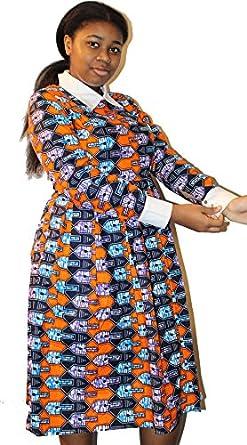 African clothing Ankara fabric pattern dress - Orange at Amazon Women