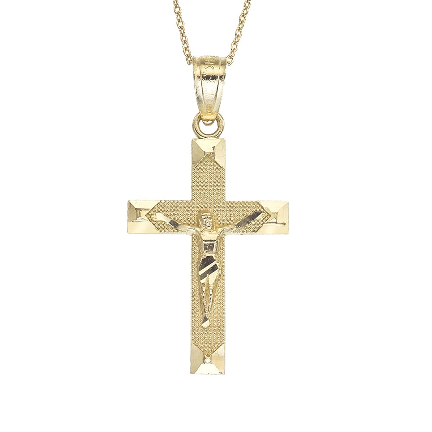 "Amazon 14k Gold Crucifix Children s Necklace 15"" Jewelry"
