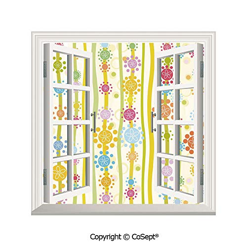 SCOXIXI Window Wall Sticker,Vertical Lines with Colorful Cartoon Style Flowers and Dots Kids Girls Fun Children Decorative,3D Window View Decal Home Decor Deco Art (26.65x20 inch)