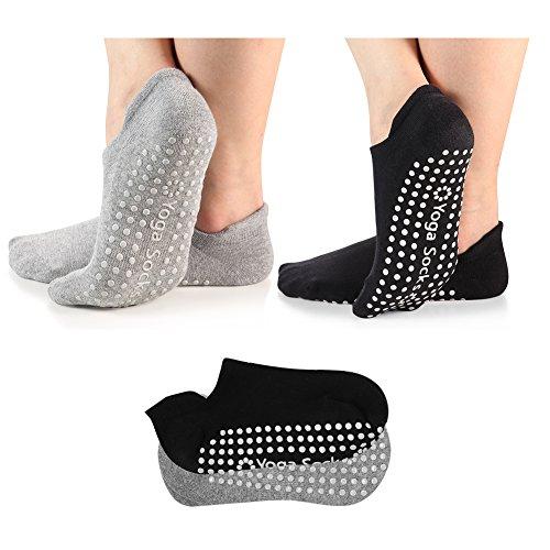 Yoga Socks Non Slip Skid Pilates Barre Grip Socks with Cotton for Women Men 2 Pack