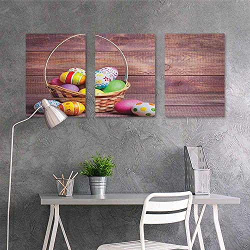 HOMEDD Canvas Pictures,Easter Colorful Eggs with Flowers and Polka Dots in a Weave Basket on Wooden Rustic Pattern,On Canvas Abstract Artwork 3 Panels,24x47inchx3pcs Multicolor