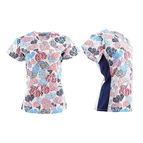DSF Uniforms V-Neck Stretch Side Panel Print Scrub Top, Paisley Hearts, L
