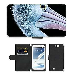 Hot Style Cell Phone Card Slot PU Leather Wallet Case // M00114820 Heron Bird Animal Portrait Head // Samsung Galaxy Note 2 II N7100