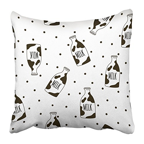 Emvency Decorative Throw Pillow Covers Cases Cow Milk Bottles Bedding Pattern Glass Bank Beverage Black Breakfast Cartoon Contour 16x16 inches Pillowcases Case Cover Cushion Two Sided