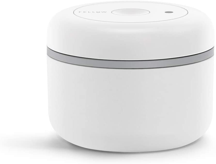 Fellow Atmos Vacuum Canister for Coffee & Food Storage, Matte White, Small, 0.4 Liter, Integrated Vacuum Pump, Airtight Seal