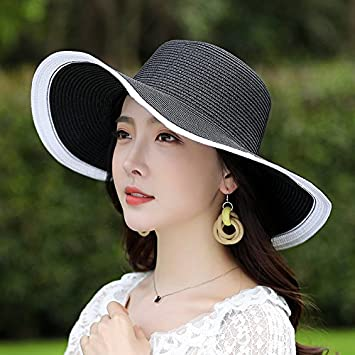 gmnscyq Visor Straw hat female summer beach hat wild daddy seaside travel  sun protection hat large d803ef957706