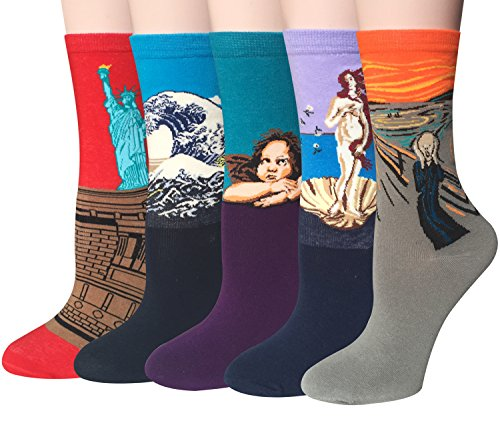 Chalier 5 Pairs Womens Famous Painting Art Printed Funny
