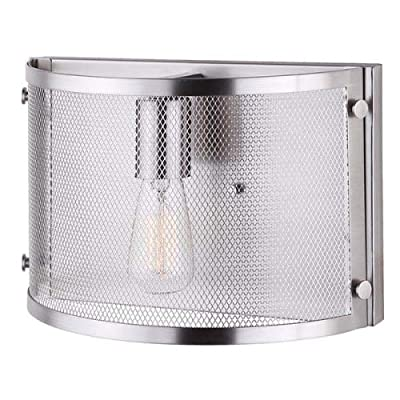 CANARM ICH626A03BN20 Beckett 3 Bulb Rod Chandelier with Metal Mesh Shade, Brushed Nickel