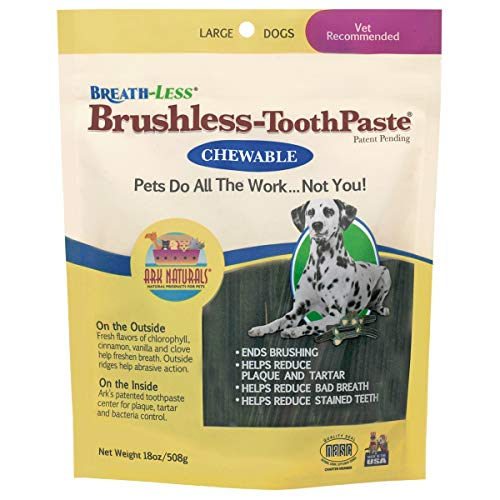 Ark Naturals Breath-less Brushless Toothpaste, Vet Recommended Natural Dental Chews for Large Dogs, Plaque, Tartar and Bacteria Control