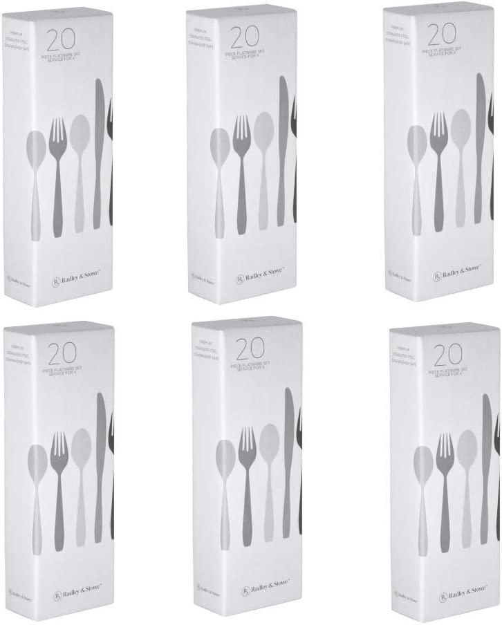 Radley & Stowe 120-Piece (24-Set) Flatware Solid Stainless Steel Silverware Set (Designer Grade with Matte Finish Handle)