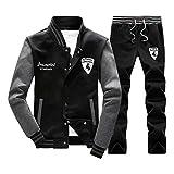 TOP Fighting Athletic Full Zip Fleece Tracksuit Jogging Sweatsuit Activewear Hooded Top (Black/XX-Small)