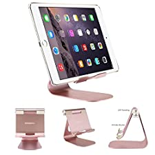 iPad Stand Tablet Holder, Oenbopo Anti-Slip Rotatable Aluminum Tablet Stand Desktop Holder Adjustable Charging Dock for iPad Pro 9.7/12.9 , iPad Air, Samsung Tablet and iPhone Samsung(Rose Gold)