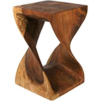 Strata Furniture Twist Stool, 12 by 18-Inch, Walnut