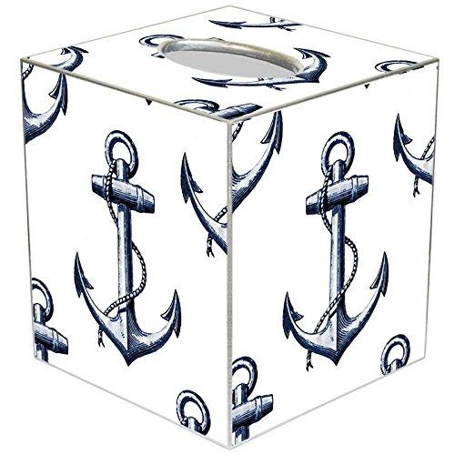 Tissue Box Cover Tissue Holder Square Cube Paper Mache Nautical Décor Beach Décor Anchor -