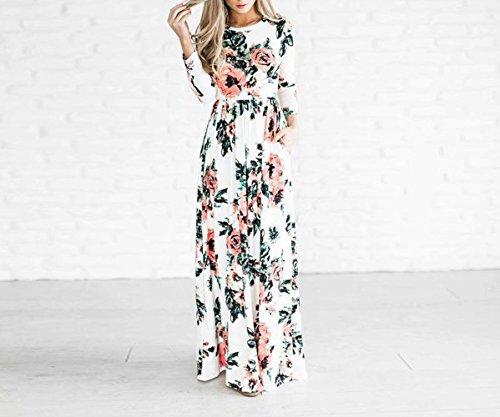 1b5ca8ad5d26 ... Beauty7 Damen Langarm Floral Maxikleid Rundhals Lang Kleid mit Blumen  Motiv Partykleid Abendkleid Cocktailkleid - Farbe ...