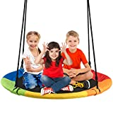 "Costzon 40"" Waterproof Saucer Tree Swing Set, Outdoor Round Swing Colorful - Adjustable Hanging Ropes, Safe and Sturdy Swing for Children Park Backyard (Multicolor)"
