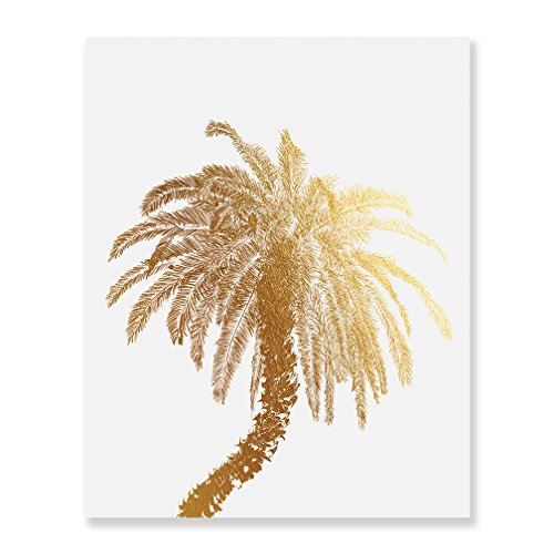 Palm Tree Gold Foil Decor Wall Art Print Island Tropical Art Metallic Poster 5 inches x 7 inches C21