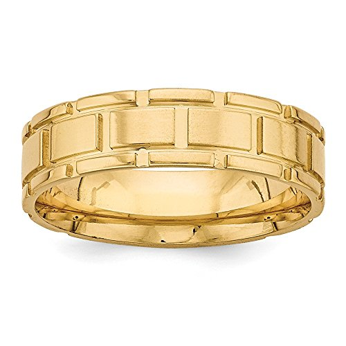 Grooved Block (Roy Rose Jewelry 14K Yellow Gold Heavy Comfort Fit Fancy Grooved Block Design Wedding Band Ring Size 12)