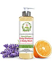 Champú y gel para el cuerpo para bebés completamente natural y orgánico   Lavanda y flor de azahar   Jabón 100% natural y 76% orgánico para bebés y niños