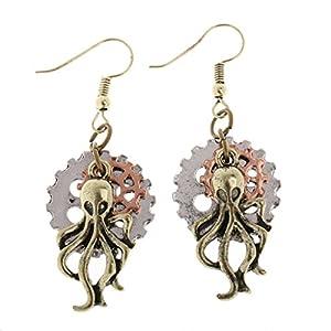 MagiDeal Vintage Steampunk Women Earring Long Earring Octopus Dangle Drop Gothic Jewelry