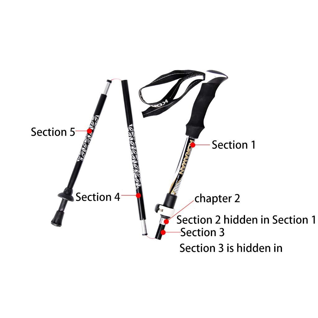 YONGMEI Trekking Pole Outdoor Carbon Fiber Aluminiumlegierung Ultraleichtes cm Falten leicht zu tragen 37 cm Ultraleichtes -130 cm Sport im Freien 58b866