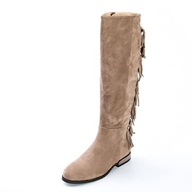 97fee48b579 Alexis Leroy Women s Synthetic Suede with Tassels Knee High Riding Boot  Taupe 7 UK   40