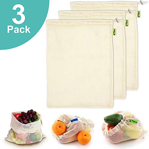 Reusable Produce Bags, Organic Cotton Mesh Bags for Shopping and Storage with Tare Weight on Tags, Double-Stitched Seams, Machine Washable, Biodegradable, Eco-Friendly, Set of 3 ()