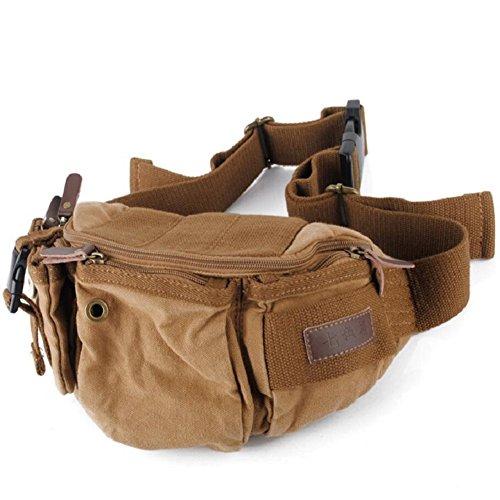 LJ&L Bolsos de lona general de hombres y mujeres, al aire libre senderismo alpinismo bolsa de teléfono móvil, llevar práctico impermeable, bolsillos multifuncionales,A,one size A