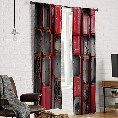 Mozenou 2 Panels Set Bedroom Kitchen Window Curtains Industrial,Fuse Cabinet Close Up Photo Industrial Type Junction Cables Box Electricity,Red White Grey W84 x L84 Inch