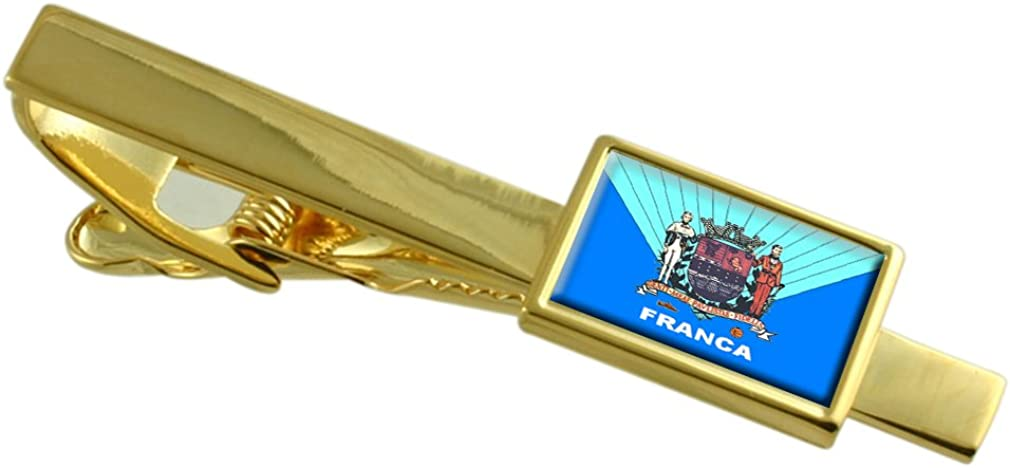 Select Gifts Franca City Sao Paulo State Flag Gold-Tone Tie Clip