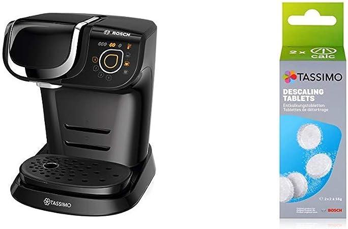 Bosch TAS6002 Cafetera automática, Color Negro, 1500 W, 1.3 litros, Plástico + TCZ6004 - Pastillas de limpieza y descalcificación para cafeteras TASSIMO: Amazon.es: Hogar