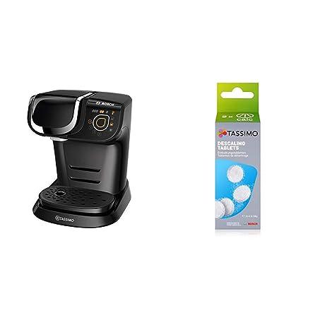 Bosch TAS6002 Cafetera automática, Color Negro, 1500 W, 1.3 litros, Plástico + TCZ6004 - Pastillas de limpieza y descalcificación para cafeteras ...