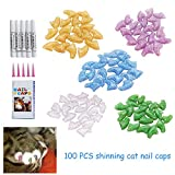 Fanme Cat Nail Caps Pet Claws Rubber Covers Paws Care Glue Applicators 5 Colors 100Pcs (S)