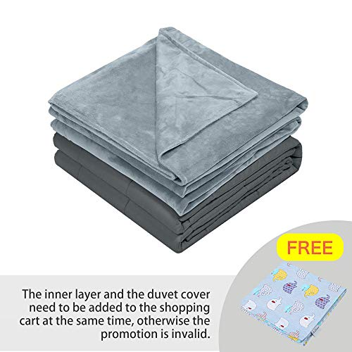 Hiseeme Weighted Blanket for Toddler & Washable Soft Removable Cover | 6lbs, 36''x48'', Single Size Bed for Kids | Cotton/Minky