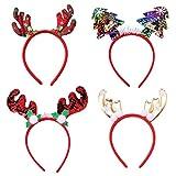 suntrade 4pcs christmas decoration antlers decoration christmas tree headband for party, family