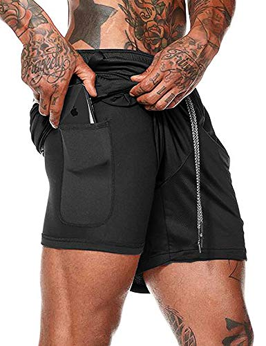 FLYFIREFLY Men's 2-in-1 Workout Running Shorts 7