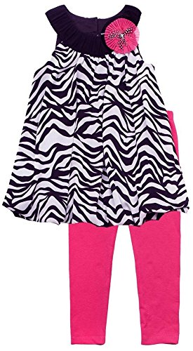 Rare Editions Little Girls 2T-6X Black/White Zebra Print Bubble Dress/Legging Set, Black,4 ()