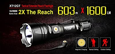 Klarus XT12GT Rechargeable LED Flashlight with 18650 Battery, Extra 18650 Battery, Magnetic Charging Cable, USB Cable, Holster, Lanyard, and Lightjunction Battery Case