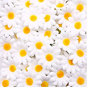 Johouse Artificial Daisy, 200PCS Silk Daisy Artificial Gerber Daisy Artificial Chrysanthemum Daisy Flowers Heads for Wedding Decoration Home Decoration, 1.5inch, White 70