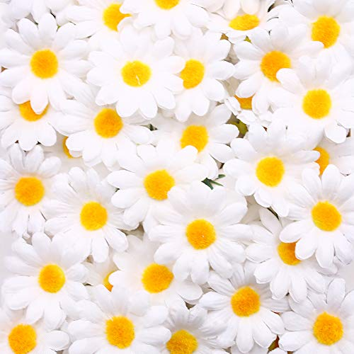 Johouse Artificial Daisy, 200PCS Silk Daisy Artificial Gerber Daisy Artificial Chrysanthemum Daisy Flowers Heads for Wedding Decoration Home Decoration, 1.5inch, White